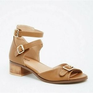 Torrid Faux Leather Block Heels Tan Sandals 9.5W